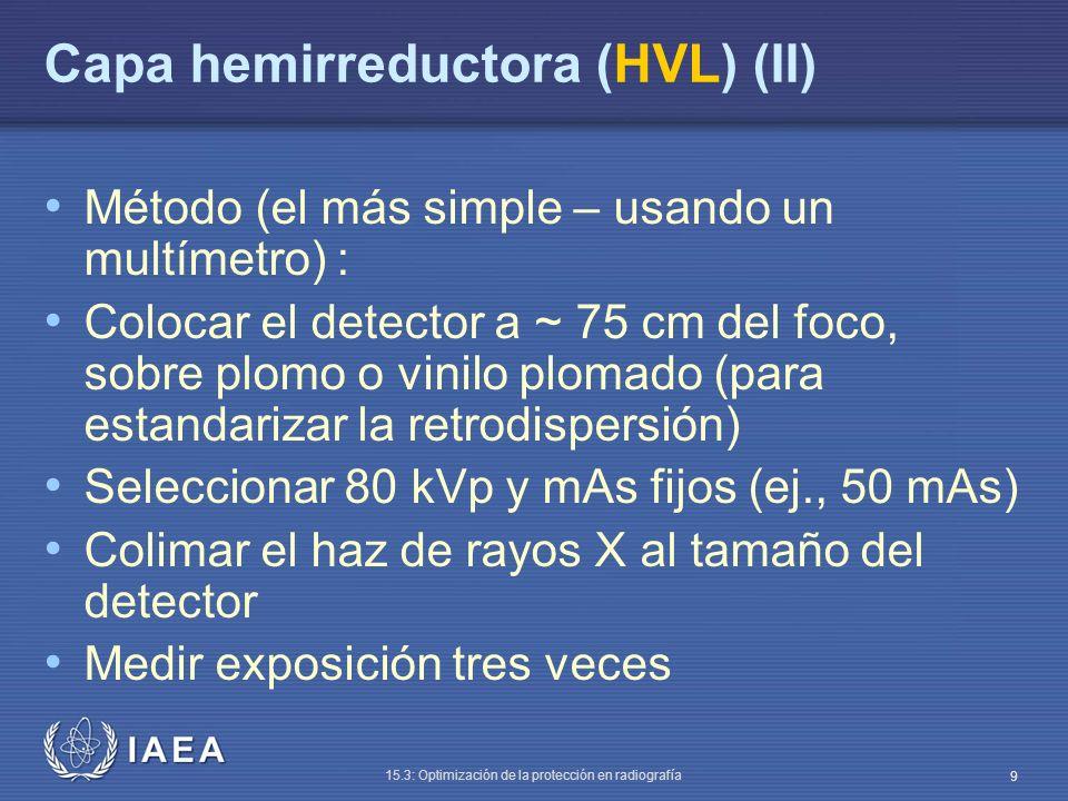 Capa hemirreductora (HVL) (II)