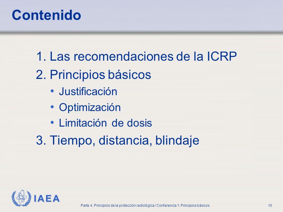 Contenido 1. Las recomendaciones de la ICRP 2. Principios básicos