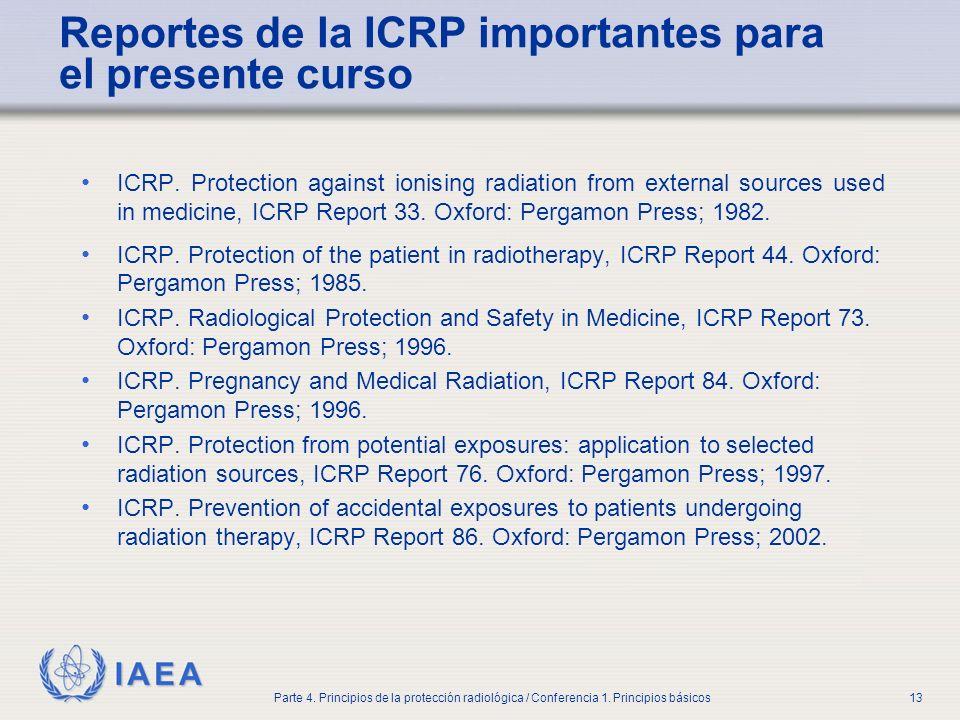 Reportes de la ICRP importantes para el presente curso
