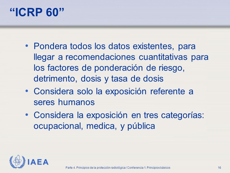 Part No 4, Lesson No 1 Radiation Safety. ICRP 60
