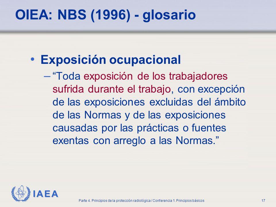 OIEA: NBS (1996) - glosario Exposición ocupacional