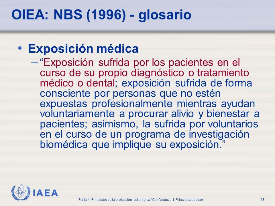 OIEA: NBS (1996) - glosario Exposición médica