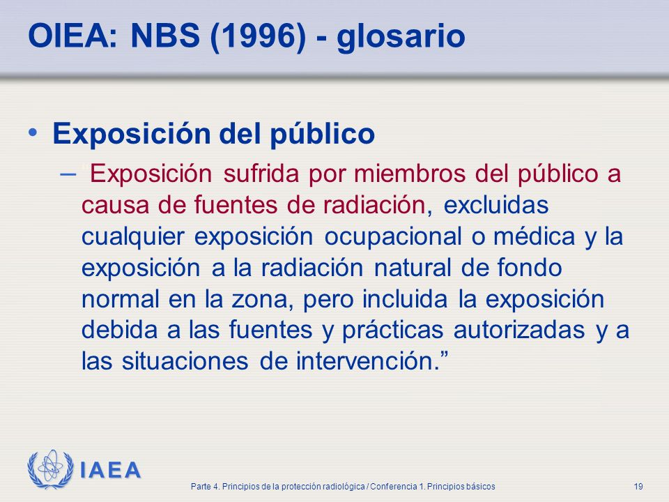 OIEA: NBS (1996) - glosario Exposición del público