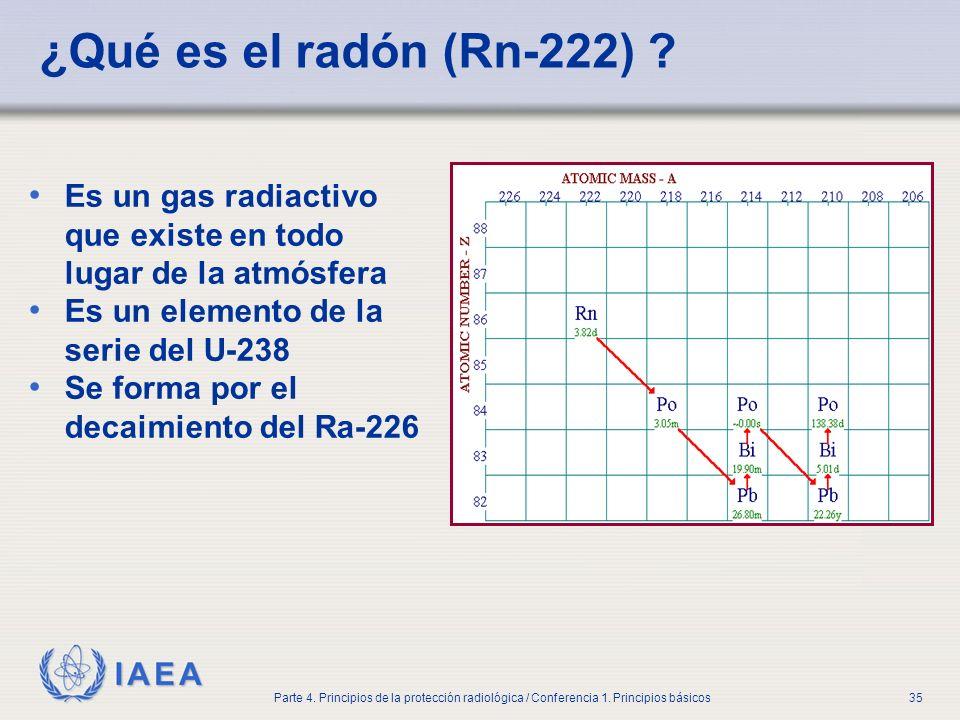 Part No 4, Lesson No 1 Radiation Safety. ¿Qué es el radón (Rn-222) Es un gas radiactivo que existe en todo lugar de la atmósfera.