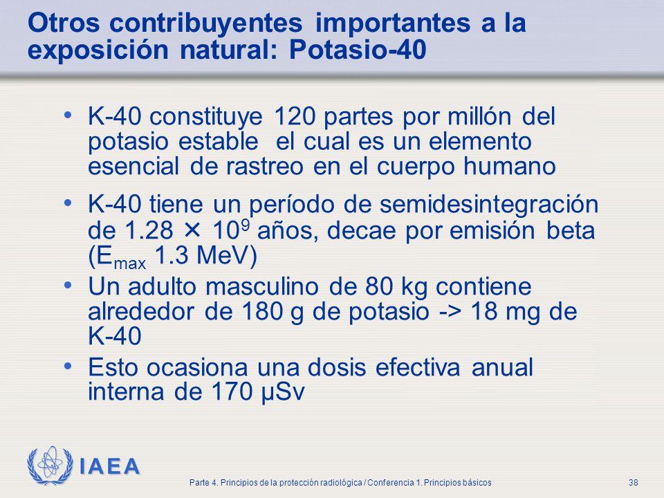 Otros contribuyentes importantes a la exposición natural: Potasio-40