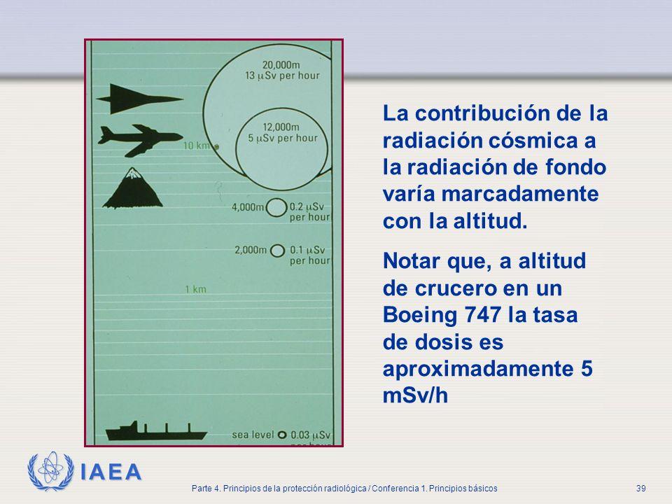 Part No 4, Lesson No 1 Radiation Safety. La contribución de la radiación cósmica a la radiación de fondo varía marcadamente con la altitud.