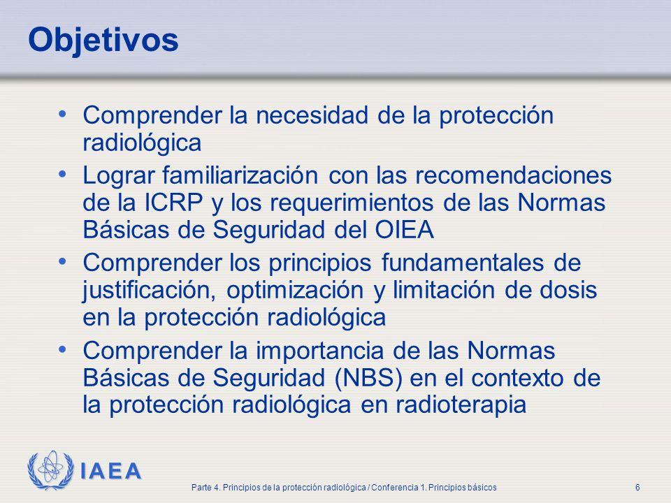 Objetivos Comprender la necesidad de la protección radiológica