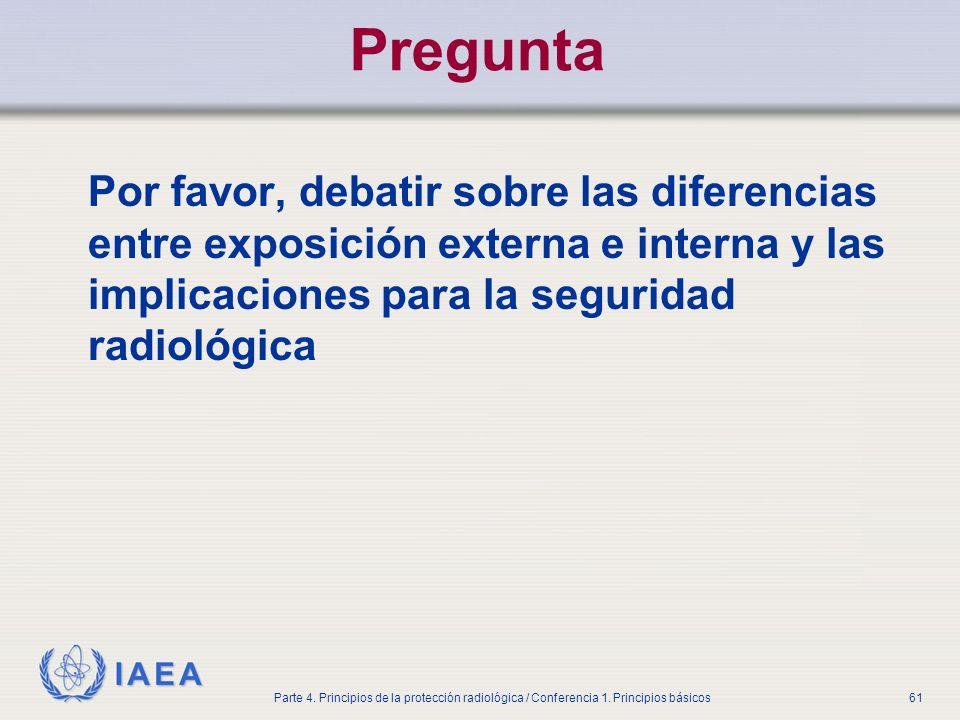 PreguntaPor favor, debatir sobre las diferencias entre exposición externa e interna y las implicaciones para la seguridad radiológica.