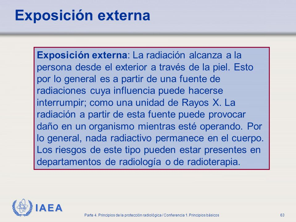 Part No 4, Lesson No 1 Radiation Safety. Exposición externa.