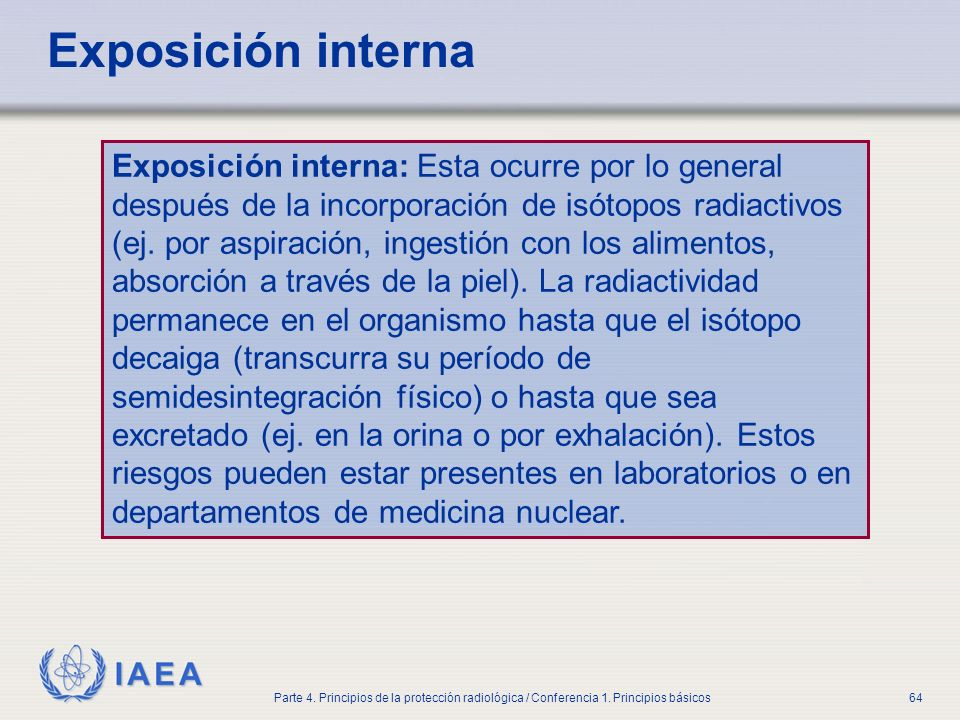 Part No 4, Lesson No 1 Radiation Safety. Exposición interna.
