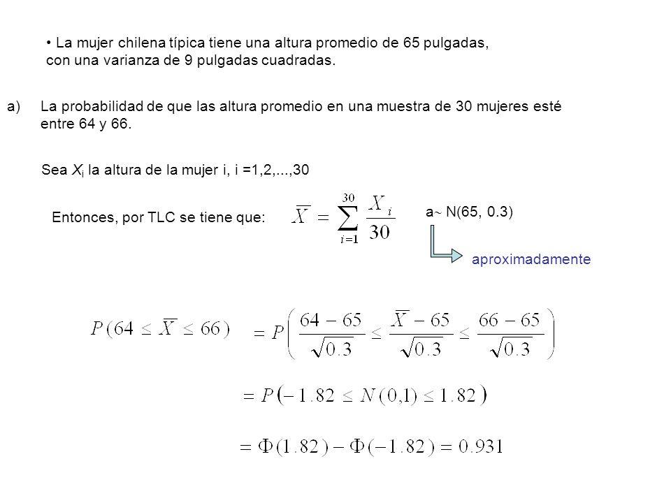 La mujer chilena típica tiene una altura promedio de 65 pulgadas,