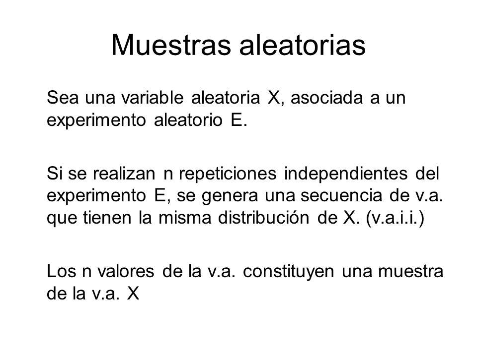 Muestras aleatorias Sea una variable aleatoria X, asociada a un experimento aleatorio E.