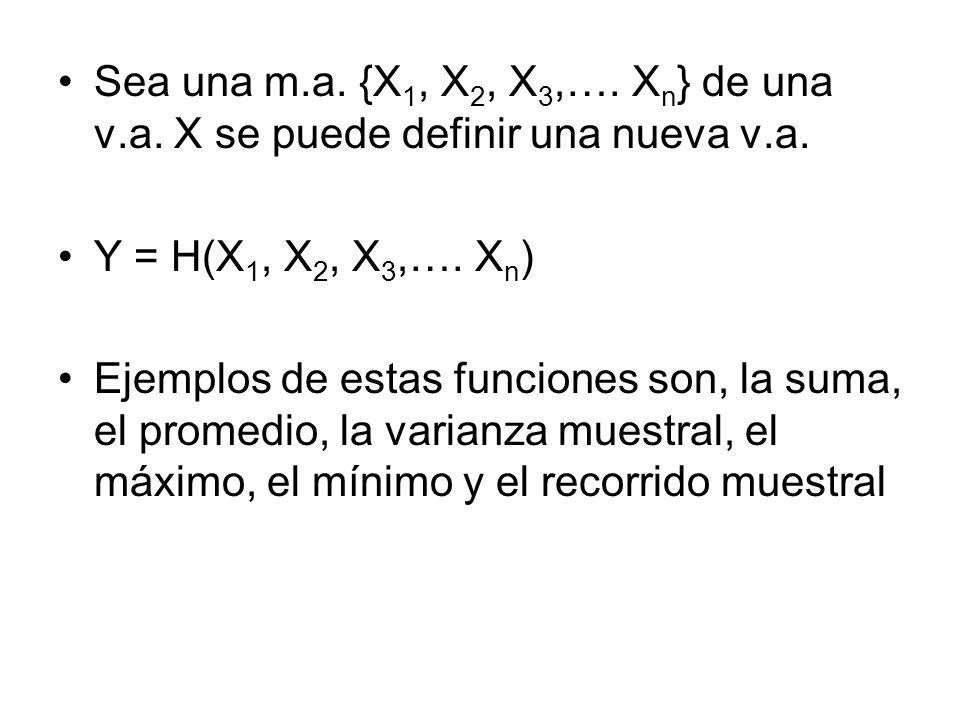 Sea una m. a. {X1, X2, X3,…. Xn} de una v. a