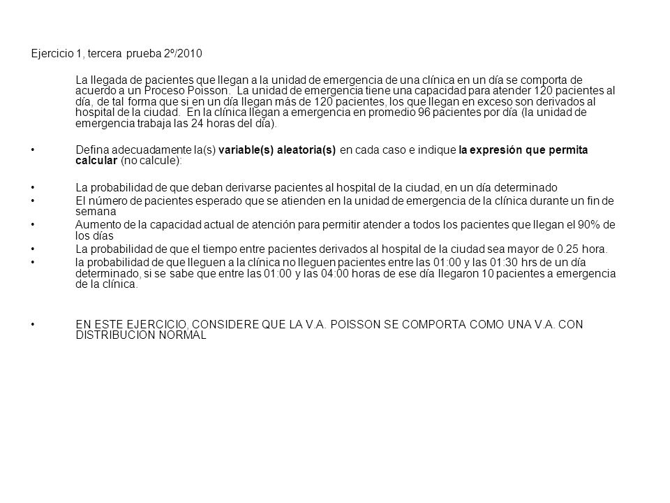 Ejercicio 1, tercera prueba 2º/2010