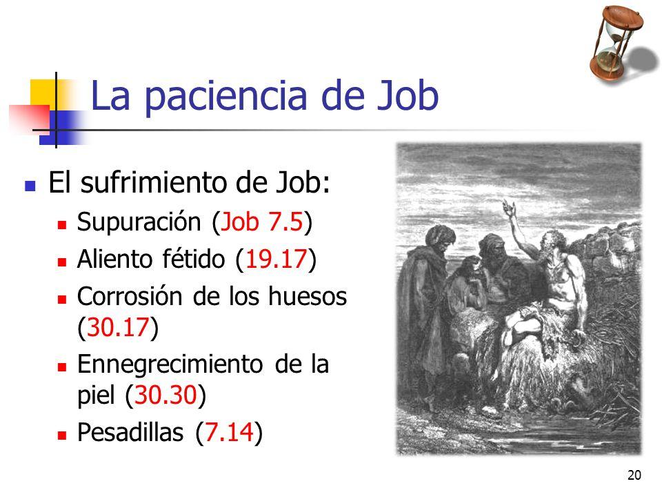 La paciencia de Job El sufrimiento de Job: Supuración (Job 7.5)