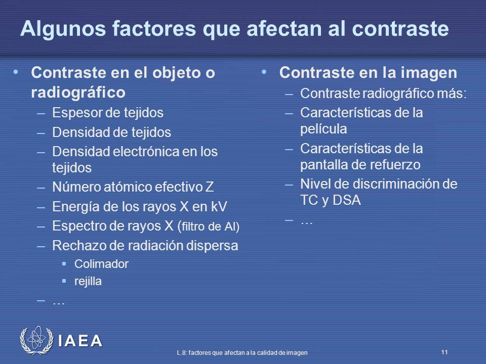 Algunos factores que afectan al contraste