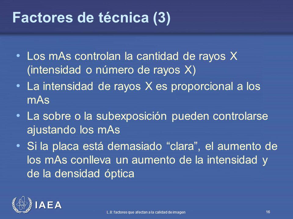Factores de técnica (3) Los mAs controlan la cantidad de rayos X (intensidad o número de rayos X) La intensidad de rayos X es proporcional a los mAs.