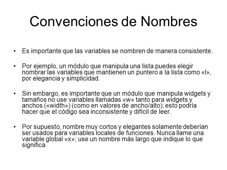 Convenciones de Nombres