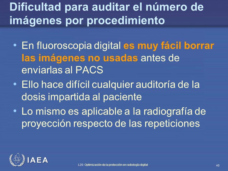 Dificultad para auditar el número de imágenes por procedimiento