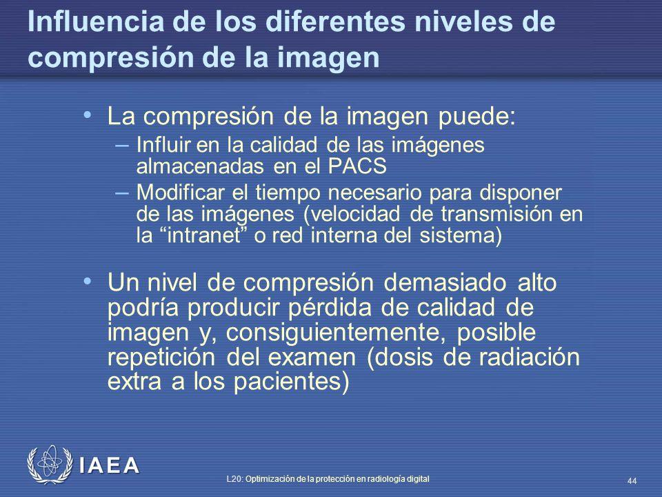 Influencia de los diferentes niveles de compresión de la imagen
