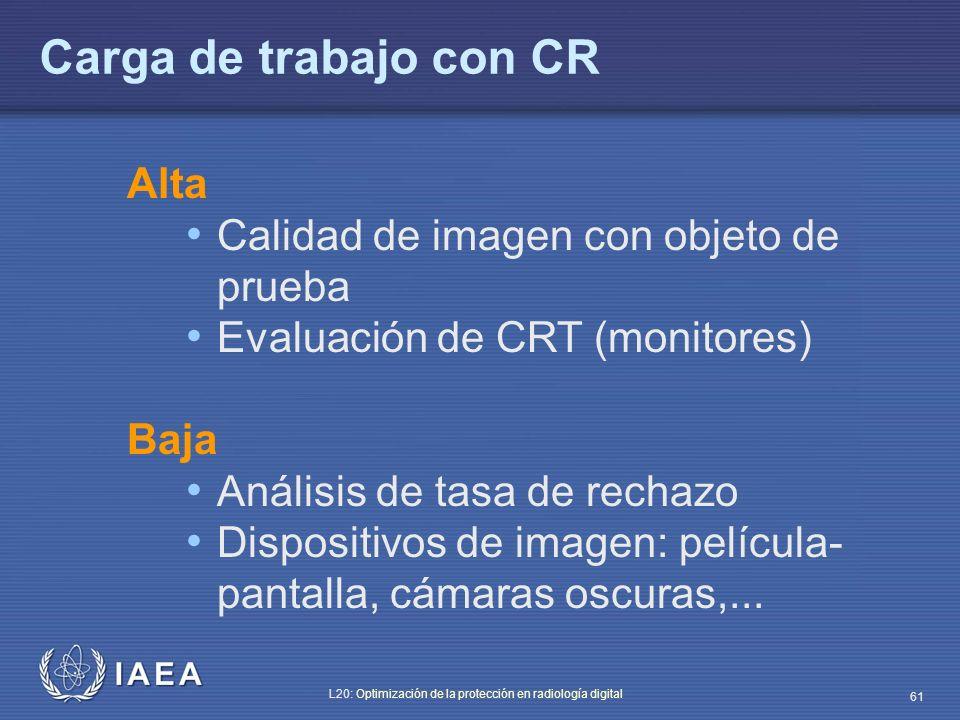 Carga de trabajo con CR Alta Calidad de imagen con objeto de prueba