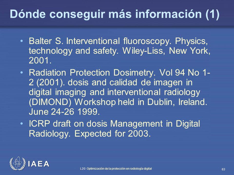 Dónde conseguir más información (1)