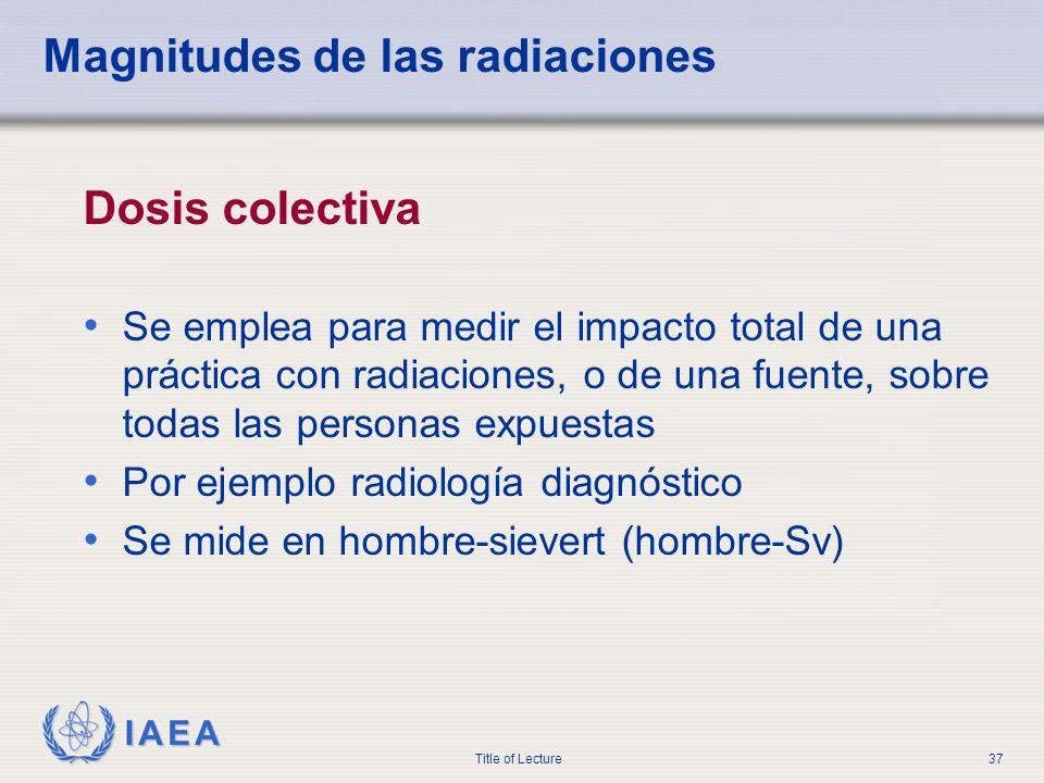Magnitudes de las radiaciones