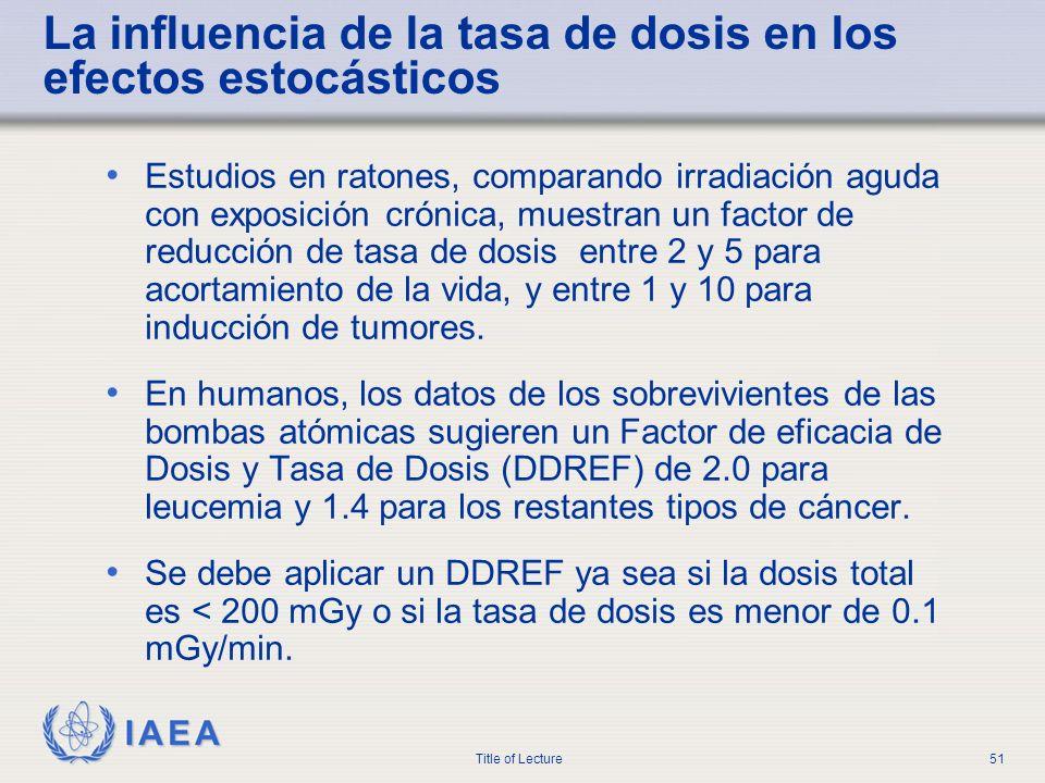 La influencia de la tasa de dosis en los efectos estocásticos