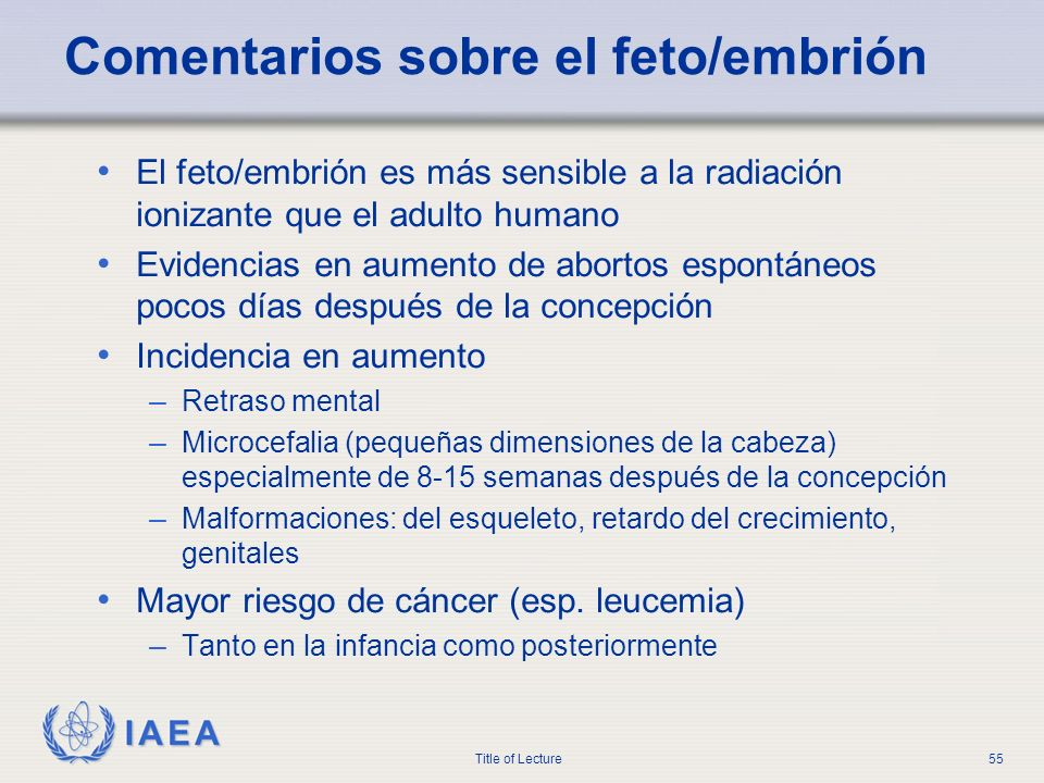 Comentarios sobre el feto/embrión