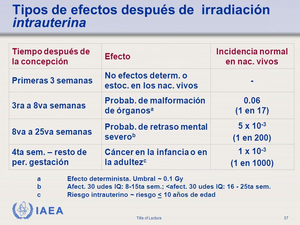 Tipos de efectos después de irradiación intrauterina