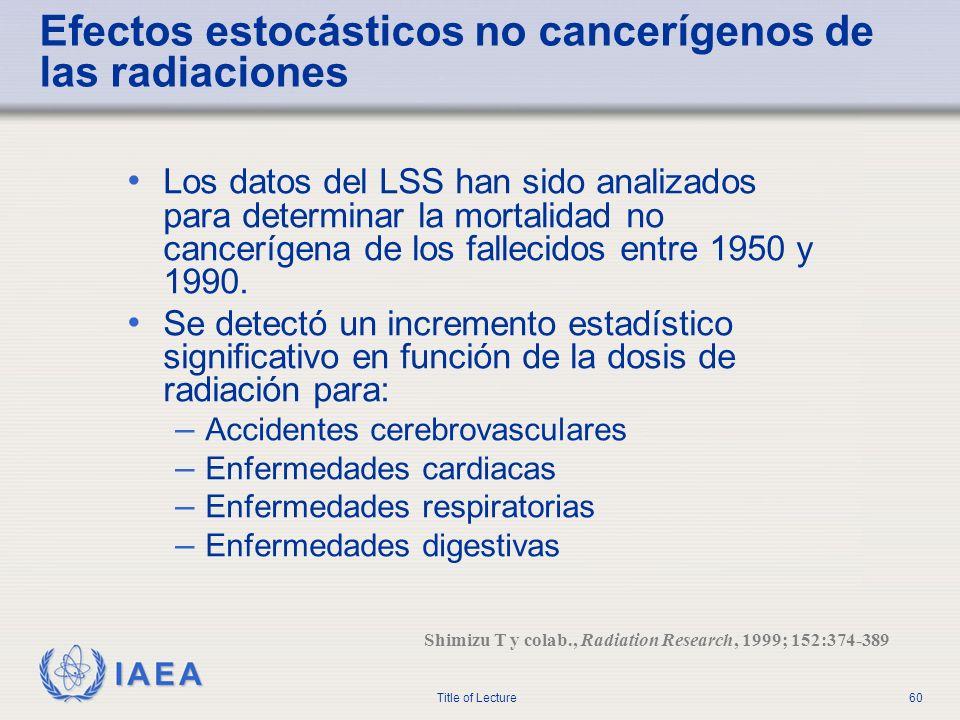 Efectos estocásticos no cancerígenos de las radiaciones