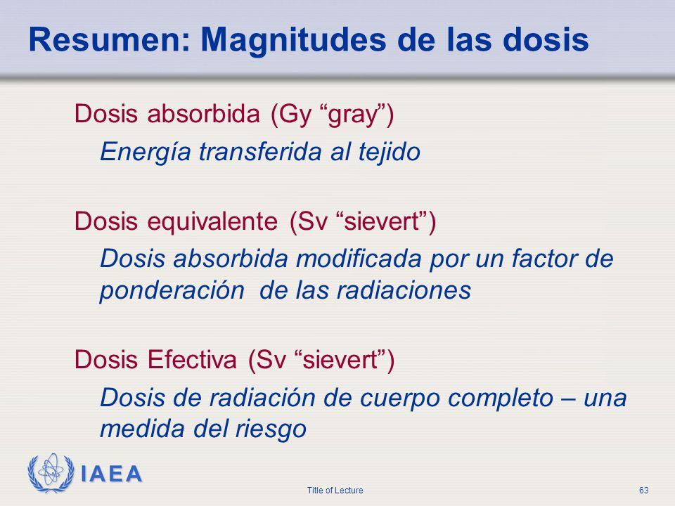 Resumen: Magnitudes de las dosis