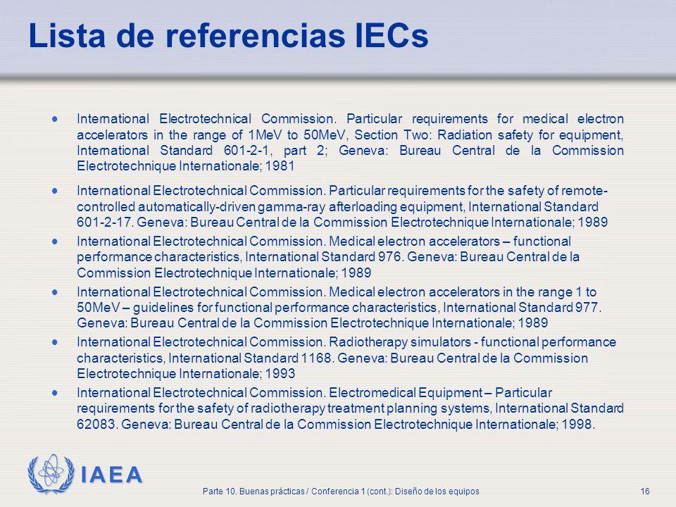 Lista de referencias IECs