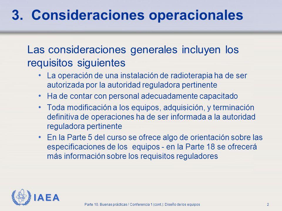 3. Consideraciones operacionales