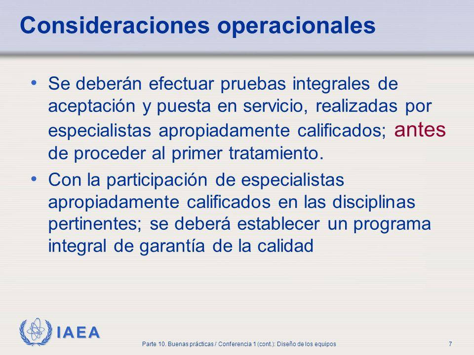 Consideraciones operacionales