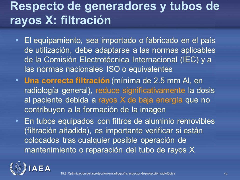 Respecto de generadores y tubos de rayos X: filtración