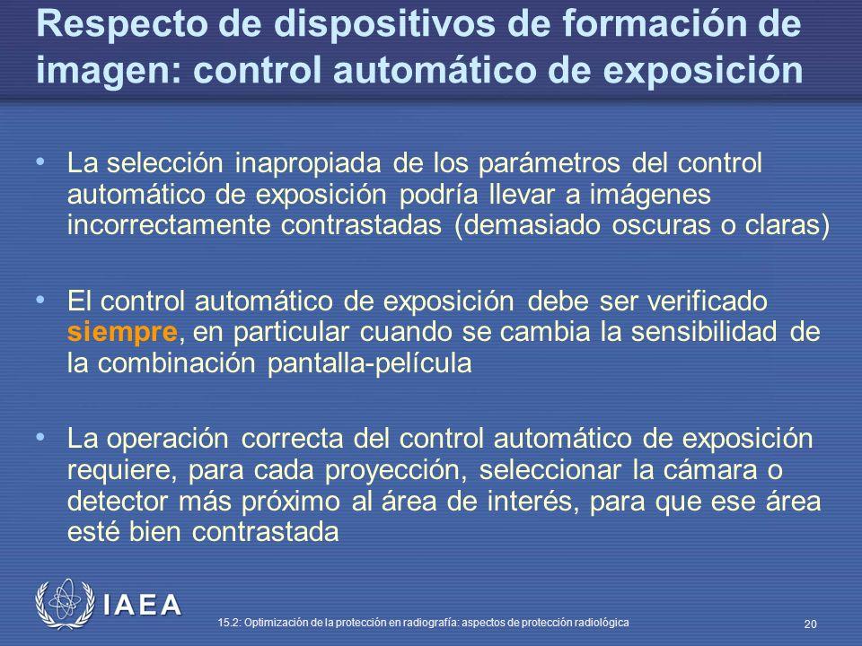 Respecto de dispositivos de formación de imagen: control automático de exposición