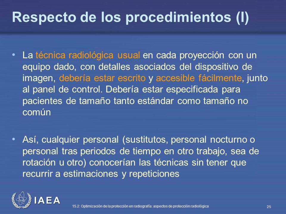 Respecto de los procedimientos (I)