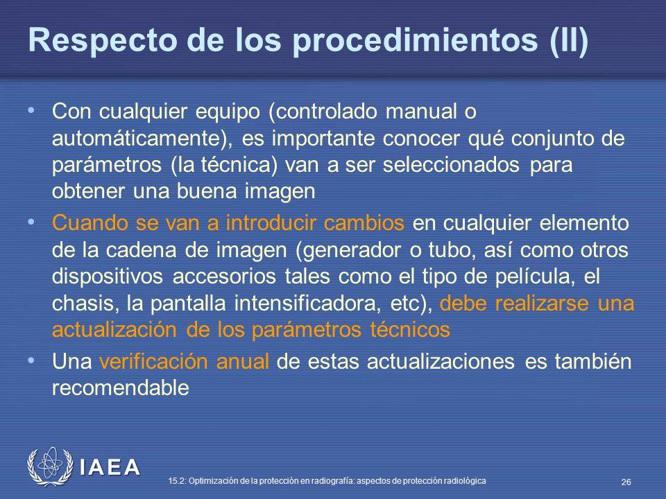 Respecto de los procedimientos (II)