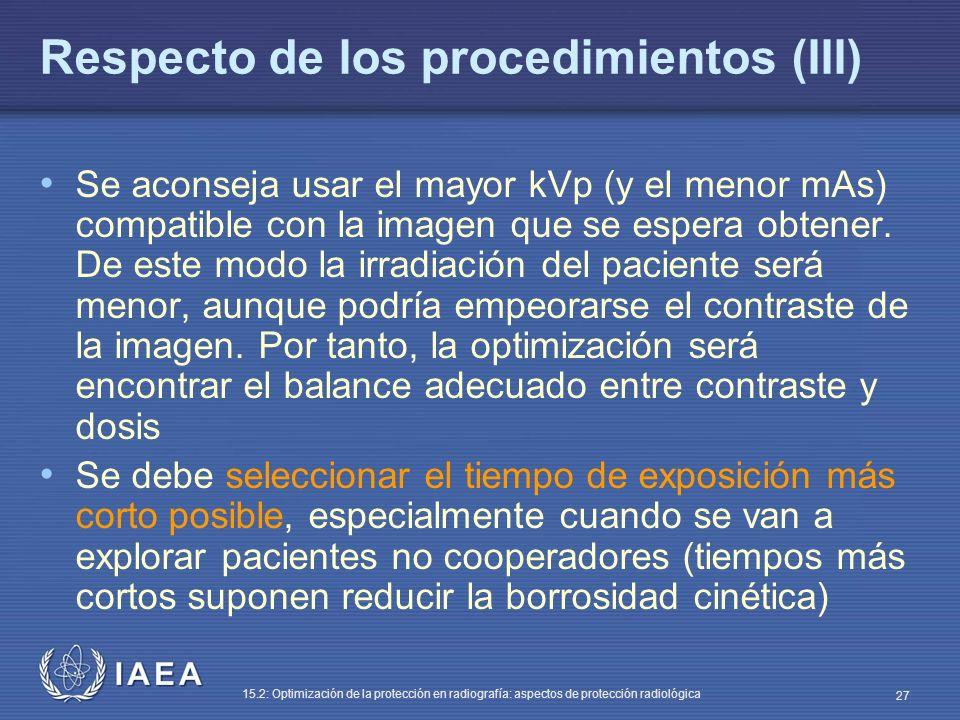 Respecto de los procedimientos (III)