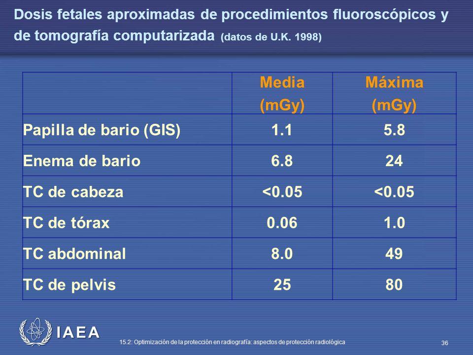 Media (mGy) Máxima 1.1 5.8 6.8 24 <0.05 0.06 1.0 8.0 49 25 80