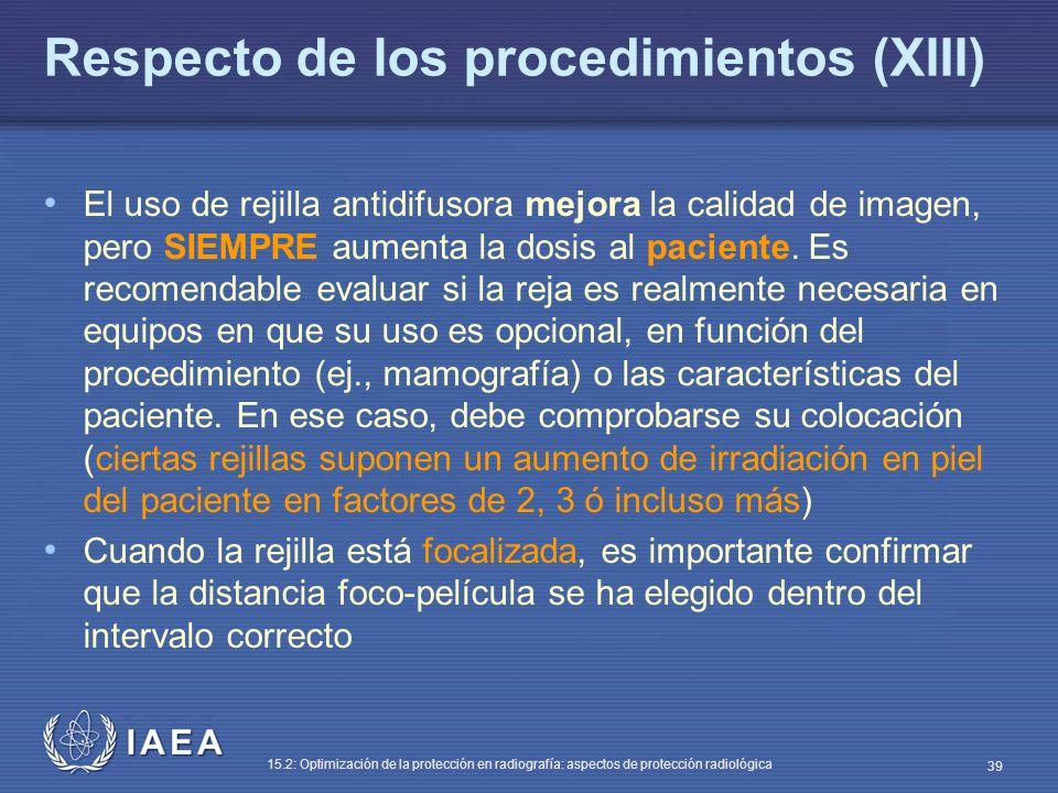Respecto de los procedimientos (XIII)