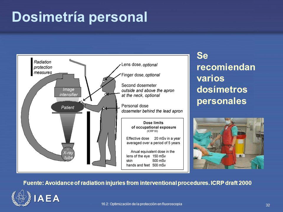 Dosimetría personal Se recomiendan varios dosímetros personales