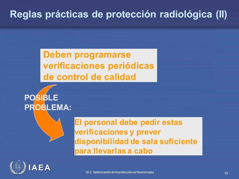 Reglas prácticas de protección radiológica (II)