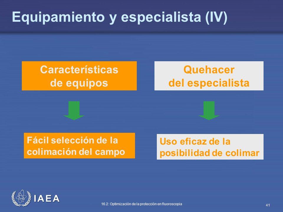 Equipamiento y especialista (IV)