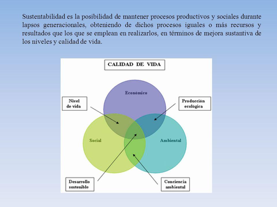 Sustentabilidad es la posibilidad de mantener procesos productivos y sociales durante lapsos generacionales, obteniendo de dichos procesos iguales o más recursos y resultados que los que se emplean en realizarlos, en términos de mejora sustantiva de los niveles y calidad de vida.