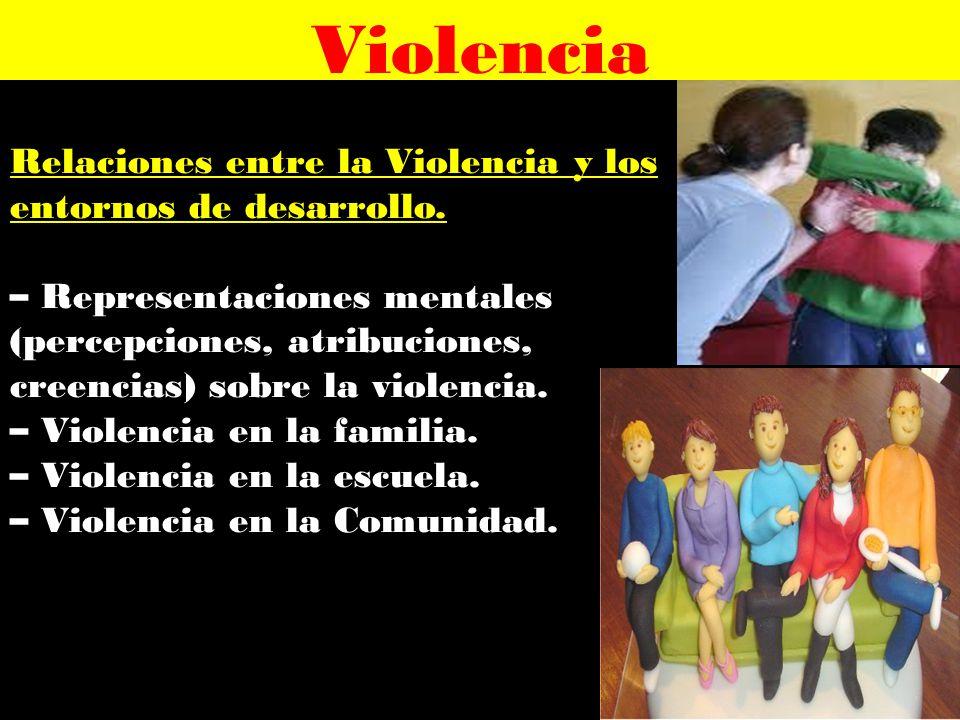 Violencia Relaciones entre la Violencia y los entornos de desarrollo.