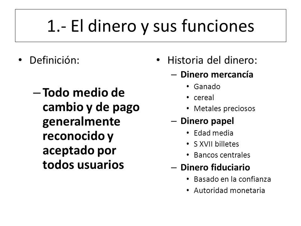 1.- El dinero y sus funciones