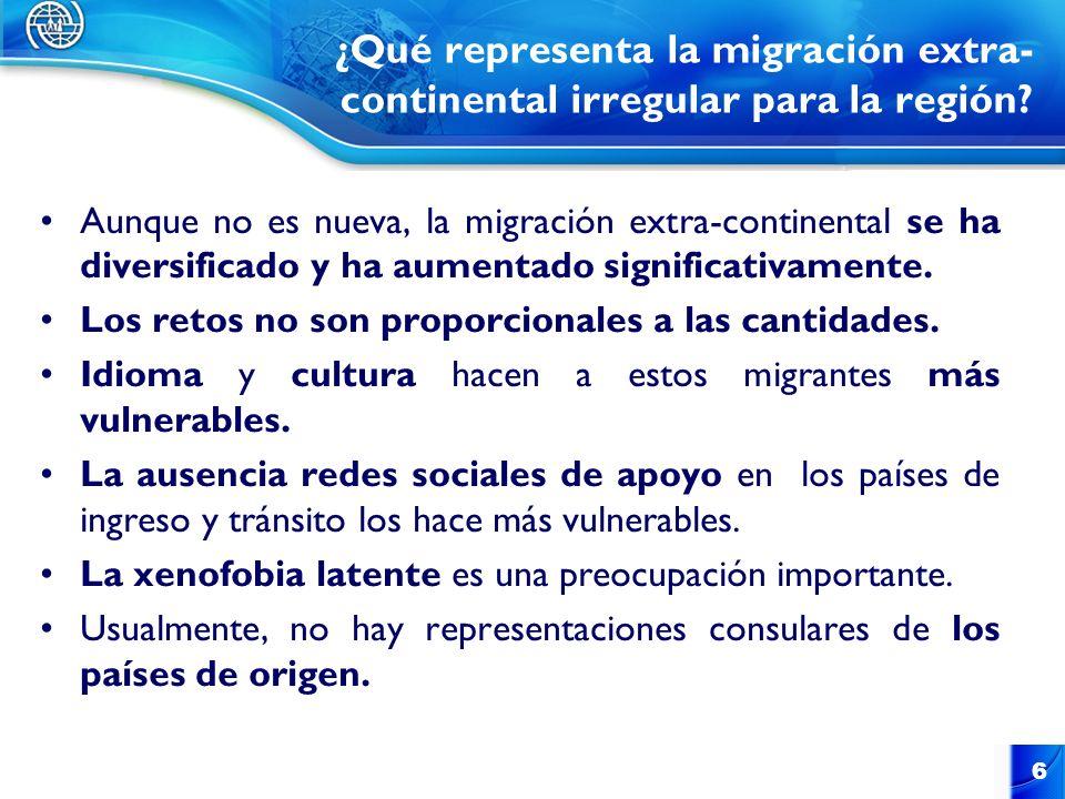 ¿Qué representa la migración extra-continental irregular para la región