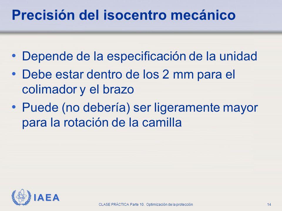Precisión del isocentro mecánico